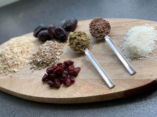 Ingredients for vegan cranberry coconut protein bars