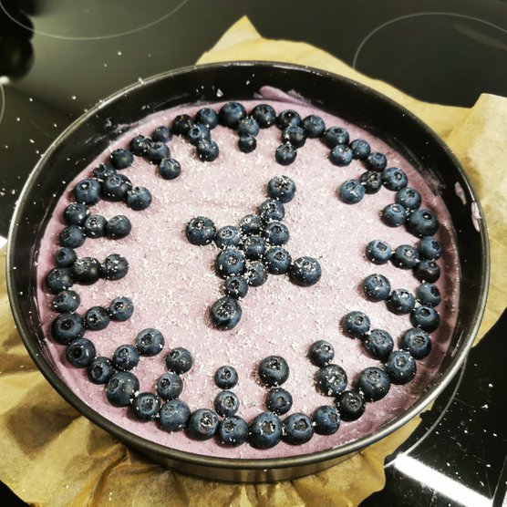 Vegan White Chocolate Cheesecake with Blueberry Mousse