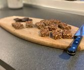 Protein bars before decorating with chocolate